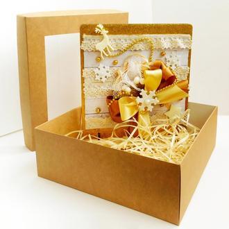 """Новогодняя открытка из дерева """"GOLD"""" (в коробке)"""