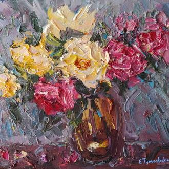 "Авторська картина маслом ""Букет троянд"""
