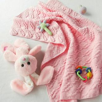 Плед рожевий бавовняний для дівчинки в коляску в ліжечко на фотосесію