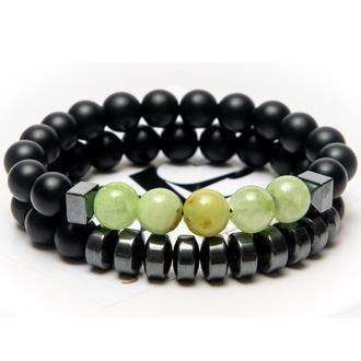 Парные браслеты DMS Jewelry из шунгита, гематита, оникса MEN'S STYLE ONYX