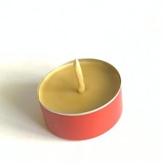 """Чайна воскова свічка """"Таблетка"""" в червоній гільзі"""