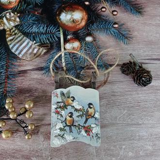 Новорічні саночки з пташками. Іграшки на ялинку.