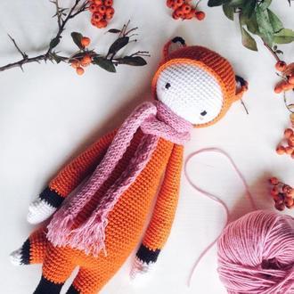 Вязанная игрушка лисичка Фиби