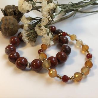 Сет браслетов из натуральных камней