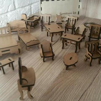 Деревянный набор мебели для кукольного домика
