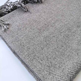 Тканий шарф унісекс сірого кольору візерунок ялинка