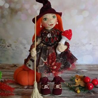 Осіння відьма. Осінній декор. Відьма. Авторська текстильна лялька.