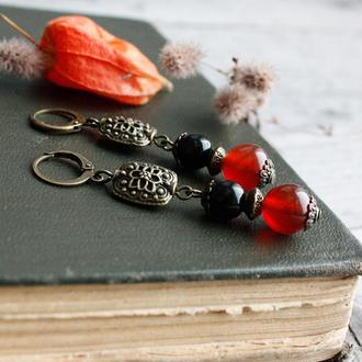 Оранжевые черные серьги из сердолика и агата Осенние украшения в винтажном стиле