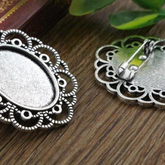 Основа для броши овальная серебро 3,4х4см