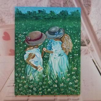 """Картина маслом """"Две Сестрички"""" Рамка в подарок!"""