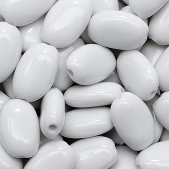 Бусины акриловые Овальные Белые 14х9х5мм, Отверстие 2мм