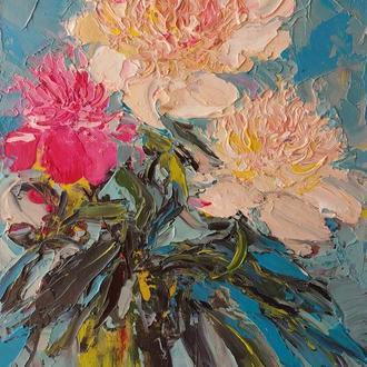 """Авторська картина маслом """"Квіти у вазі"""""""