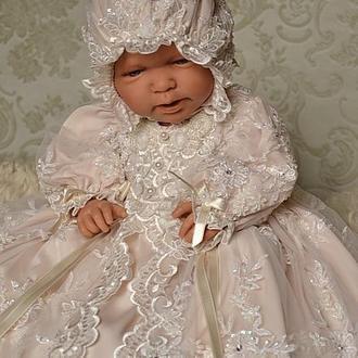 Крестильный комплект Елизавета: чепчик и крестильное платье