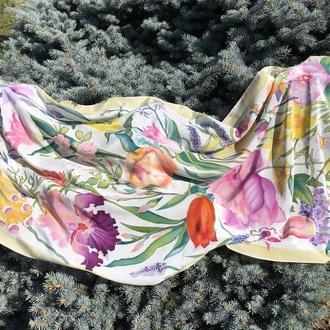 Ручная роспись шелковый палантин ′Майский сад′ 182 * 72 см