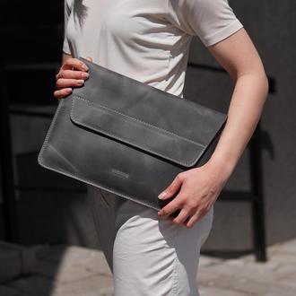Серый чехол из кожи для ноутбука Apple, Lenovo, Asus, Acer, HP - Line