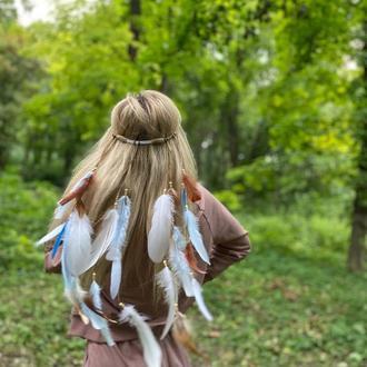 Повязка с перьями на голову. Бохо повязка с перьями