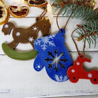 Набор деревянных елочных игрушек