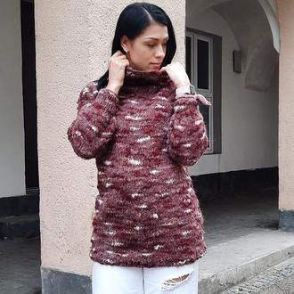 Женский теплый вязаный свитер с высоким горлом. Бардовый, фиолетовый и белый твидовый свитер