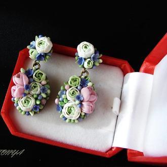 Серьги с миниатюрными цветами, серьги цветы,серьги цветочные