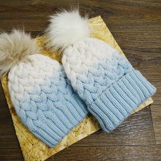 новая зимняя теплая шапка с градиентом косы