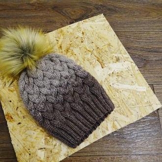 новая зимняя зима шапка косы градиент без отворота и меховым бобоном