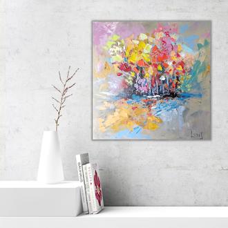 """Современная абстрактная картина """"Приход осени"""" оригинал масляная живопись на холсте"""