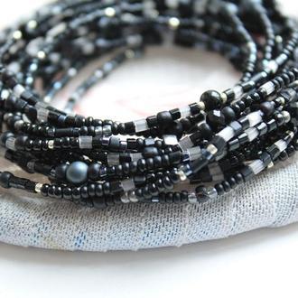 черные браслеты , набор тонких браслетов из бисера и бусин 15 штук