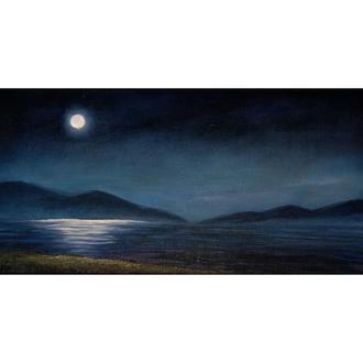 """Картина """"Нічне море"""", олія 20х40 см"""