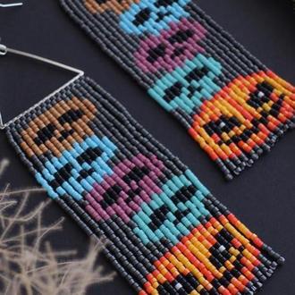 Серьги на хэллоуин   Длинные серьги из  японского бисера