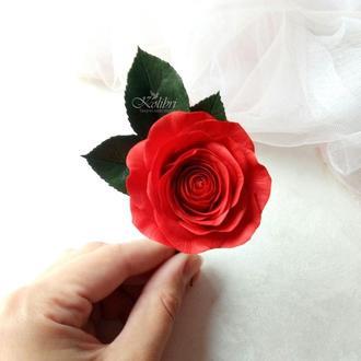 Заколка для волос, красная роза