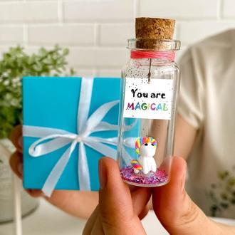 Оригинальный подарок на день рождения для девушки. Миниатюрный единорог. Сувенир для неё.