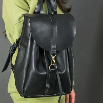 """Женский кожаный рюкзак """"Киев"""", размер средний, кожа итальянский краст, цвет черный"""