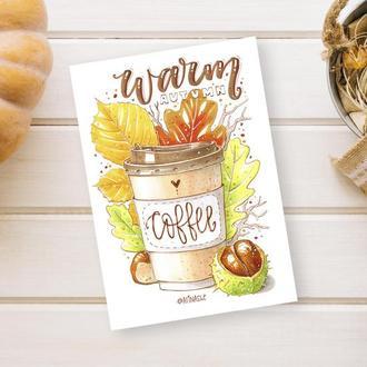 Листівка з авторською іллюстрацією Тепла кава, Warm Coffee