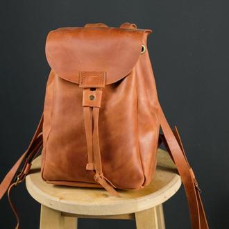 """Женский кожаный рюкзак """"Токио"""", размер мини, винтажная кожа, цвет коньяк"""