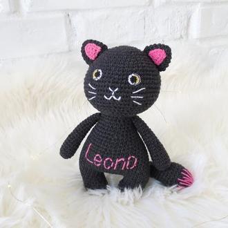 Кошка вязаная игрушка для девочки, подарок на день рождения, новый год, мягкая игрушка черный кот