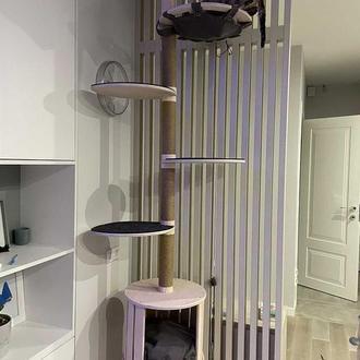 Башня для кошек, башня для кота, от пола до потолка «Master Tower» (Комплект «Листик»)