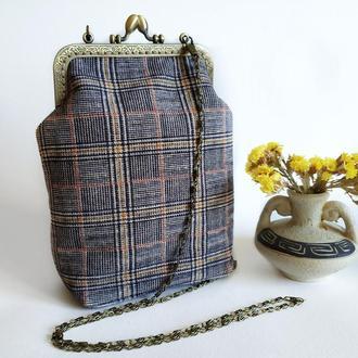 Жіноча сумка, сумка на фермуарі, текстильна сумка