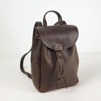 """Женский кожаный рюкзак """"Токио"""", размер средний, винтажная кожа, цвет шоколад"""