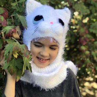 Шапка-ушанка кошечка женская белая