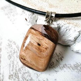 Деревянный кулон с эпоксидной смолой ручной работы,  недорогой подарок девушке