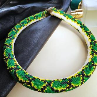 Жгут ожерелье из мелкого японского бисера зеленый с желтым Питон
