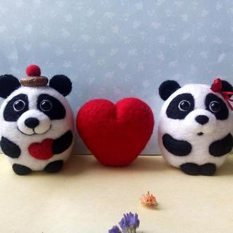 """Новорічні прикраси """"Закохані панди"""""""