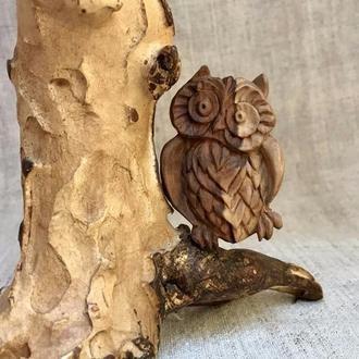 Брошь «Сова» из дерева