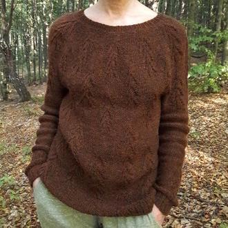 Вязаный женский свитер с узором #forestsweater