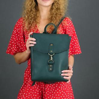 """Женский кожаный рюкзак """"Рига"""", кожа итальянский краст, цвет зеленый"""