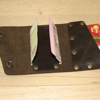 Компактний шкіряний гаманець Дощ TYSA, коричневий