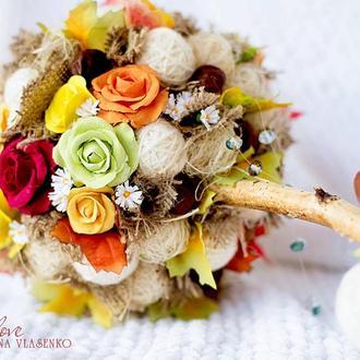 Топиарий с розами из полимерной глины Теплая осень