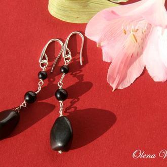 """""""Black Agate"""" Серебряные серьги с черным агатом. Серебро 925, черный агат"""
