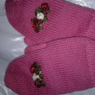Шерстяные вязанные рукавички