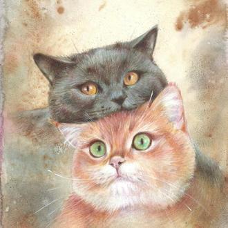 Без кота і життя не та. Малюнок, 2021р Автор - Наталія Мишарева